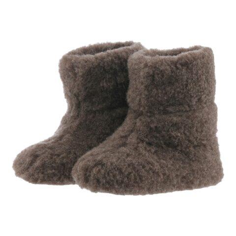 Bamsefutter 100% uld mørkebrun hjemmesko