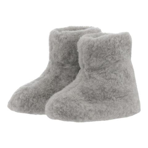 Bamsefutter 100% uld hjemmesko lysgrå